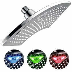 Shower Heads Colorful Stainless Steel Round Water Power Led Handheld Temperature Sensor Light Shower Head No Battery Bathroom Accessories Bright And Translucent In Appearance