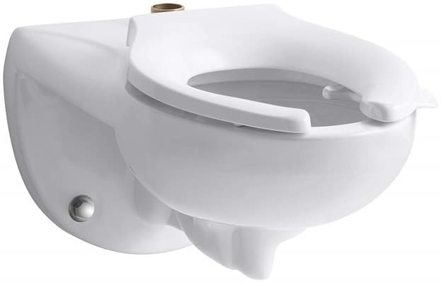 KOHLER K-4325-L-0 Kingston(TM) Wall-Mounted Flushometer Valve Toilet Bowl